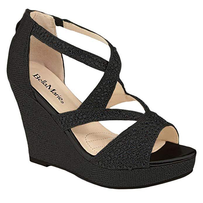 Womens Platform Wedge Sandal Rhinestone Criss Cross Strap Back Zipper Dress Dance Heeled Summer Shoes