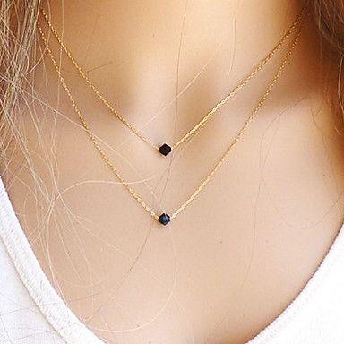 [NewYearSale]collier européen deux gemme noire minuscule pendentif (1 pc) – EUR € 2.87