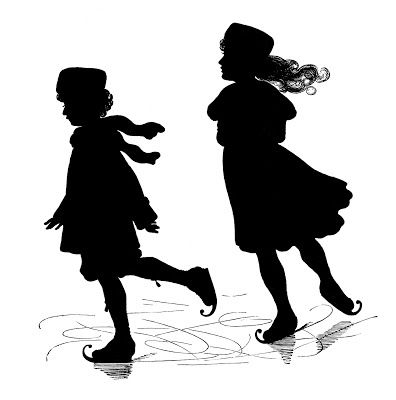 Silhouettes - Boy and Girl - Ice Skating - The Graphics Fairy