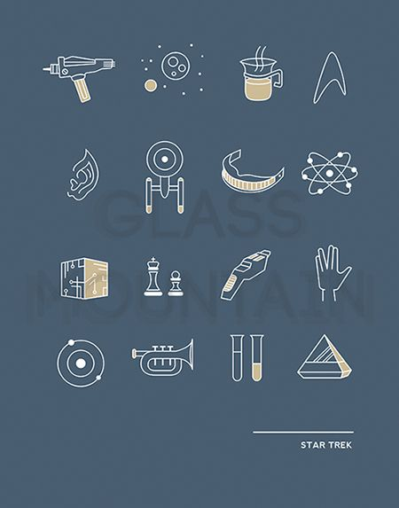 """Do you like your tea, Earl Grey, hot? Are you logical like Spock? Do you often find yourself telling people to """"Make it so""""? Is your idea of a great time chatting with a certain El-Aurian bartender, sipping synthehol martinis in Ten Forward? Then this print is for you! Original Star Trek icons by TheGlassMountain. Star Trek wall art."""