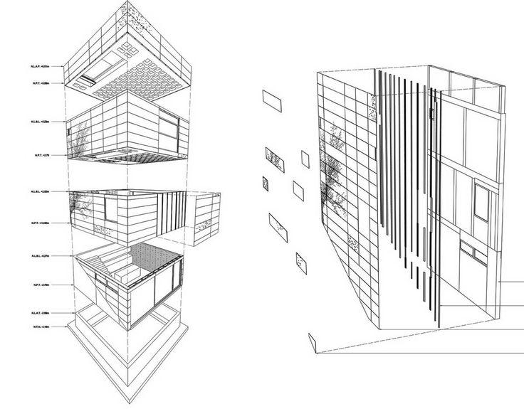 Дом Альта (Alta House) в Мексике от AS/D Architeture. Этот дом почти кубической формы построен на очень крутом лесистом склоне с великолепным видом на долину, расположенную ниже. Дом имеет в плане размер 6 на 6 метров, у него три этажа,кухня-столовая на первом этаже, гостиная - на втором, спальня - на третьем и смотровая терраса на крыше. Нижняя часть участка оформлена террасами с садом и бассейном. Конструкция вентилируемого фасада задумана как абстрактный образ дерева и развивается от...