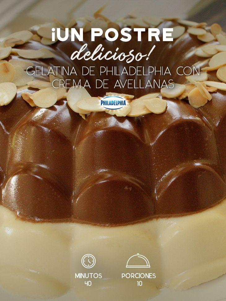 Acompaña esa cena con una deliciosa Gelatina de Philadelphia con crema de avellana.   #recetas #receta #quesophiladelphia #philadelphia #crema #quesocrema #queso #comida #cocinar #cocinamexicana #recetasfáciles #gelatina #chocolate #avellana #postre #postreconchocolate #gelatinadechocolate