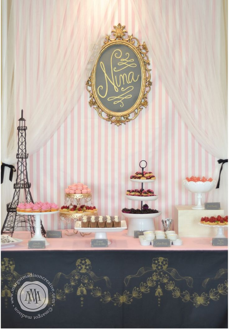 Gold and Pink Parisian themed party/Dessert table  Margot Madison/Stellar Party