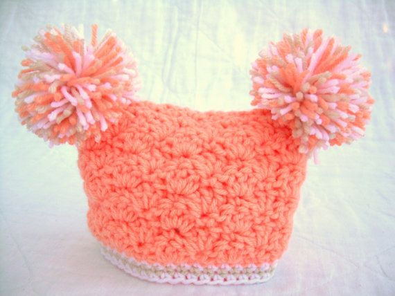 peaches and cream yarn crochet patterns | Crochet Baby Girl Hat with Pom Poms, Peaches and Cream, peach, white ...
