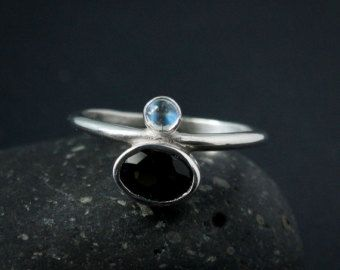 Black Tourmaline and Birthstone Ring - Choose Your Birthstone Ring - Stackable Ring