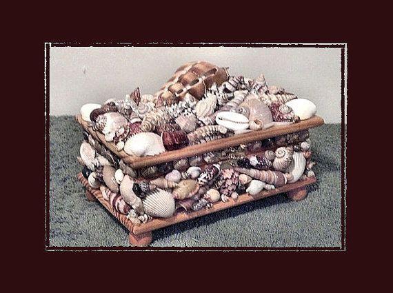 "Coastal Jewelry Box (8""x5"") - Handmade Sea Shell Decor by Eagle414 Sea Shell Creations, $74.00 USD"