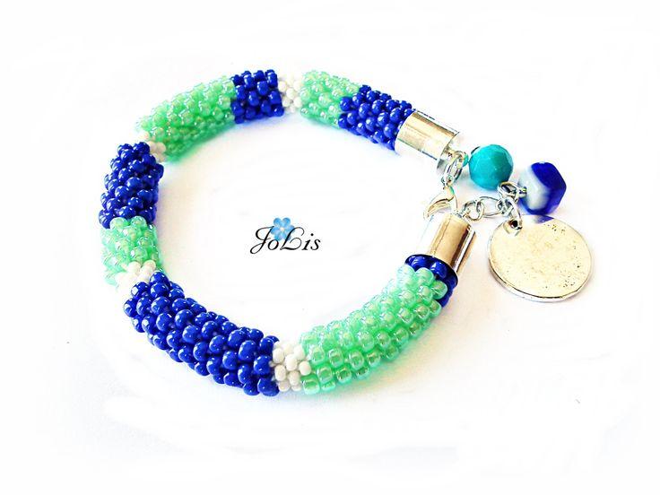 Beaded Bracelet Toho Seed Beads Bracelet Bracelet Crochet Rope Beaded Sapphire birthsone Sapphire birthday gift September birthstone by MadeByJoLis on Etsy