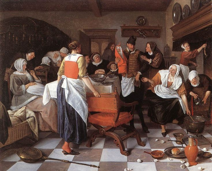 jan steen the christening feast 1664 bringing vein of peasant lives to perfection.