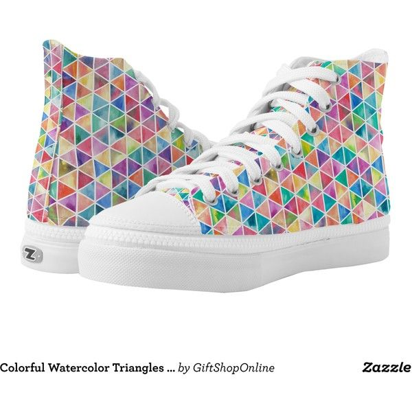 Colorful Watercolor Triangles Patterned Printed Shoes ($95) ❤ liked on Polyvore featuring shoes, colorful high top shoes, high top shoes, colorful shoes, multi color shoes and hi tops