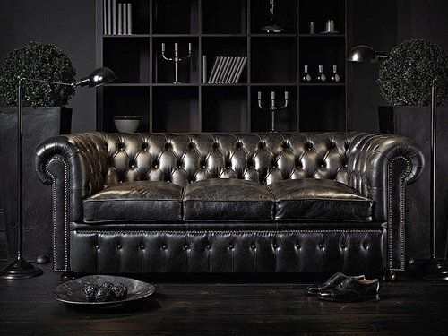 black interior and gunmetal sofa. really like this one