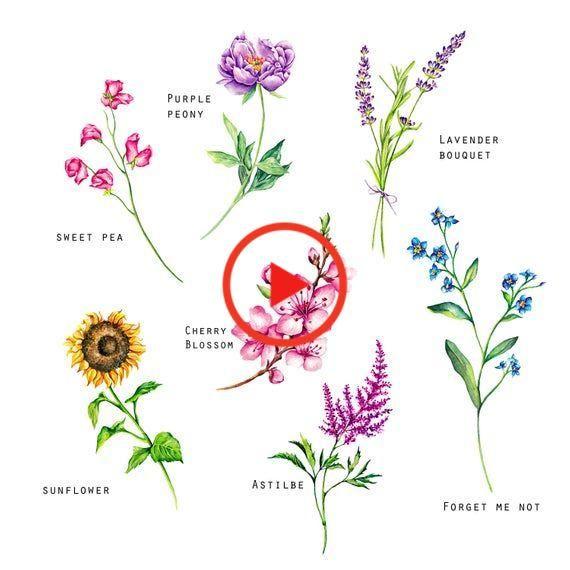 Flower Temporary Tattoos Set Of 7 Flower Tattoos Peony Sunflower Cherry Blossom Forget Me Not In 2020 Peonies Tattoo Set Sunflower