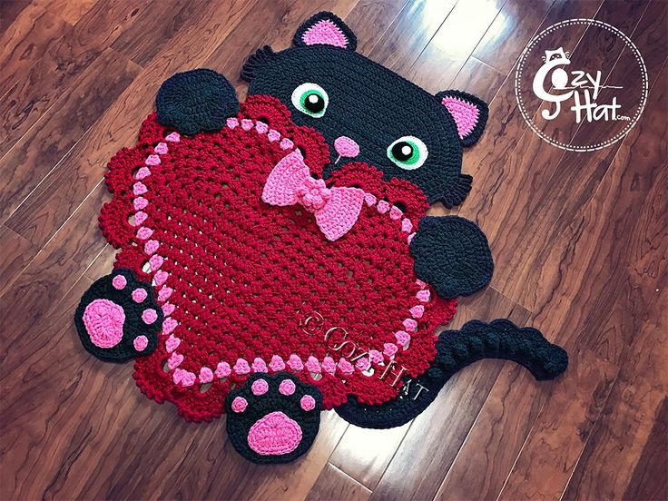 Sassy the Kitty Heart Rug by Cozy Hat can be purchased from --> https://www.etsy.com/listing/510915743/ready-to-ship-kitty-love-rug-hand  Crochet Pattern from --> https://irarott.com/Kitty_Cat_Heart_Rug_Crochet_Pattern.html