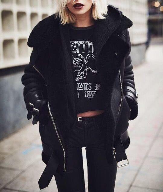 //pinterest @esib123 // #fashion #style #inspo  black leather jacket