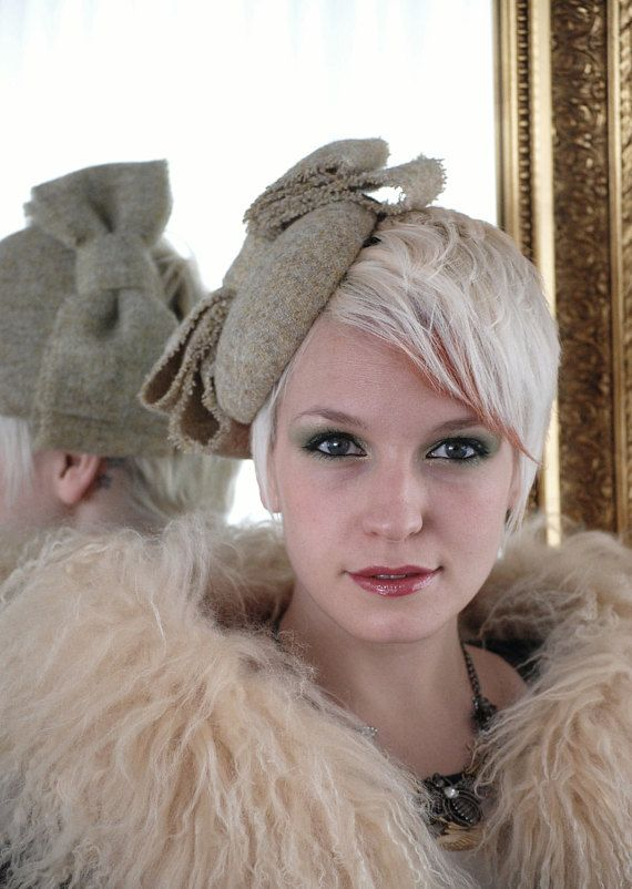 Start a one girl hat revolution and bring back a little Hollywood chic with this classic, show stopping, Sottish oatmeal Harris Tweed pillbox hat. Old school all the way, all my hats are made from scratch using heavy buckram & wire construction the same way that your Great