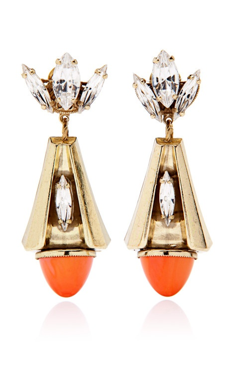 Orange Cabachon Cone Drop Earrings by Anton Heunis Now Available on Moda Operandi