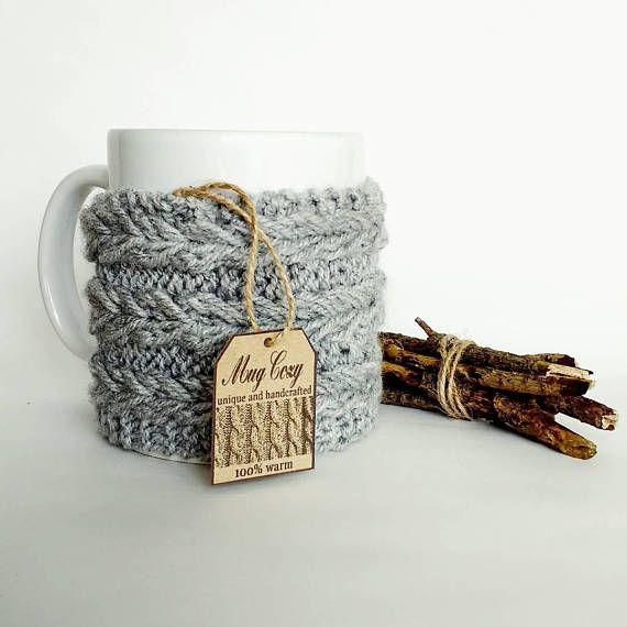 Grey mug cozy, knitted mug cozy, wool cotton, hand knitted, mug warmer