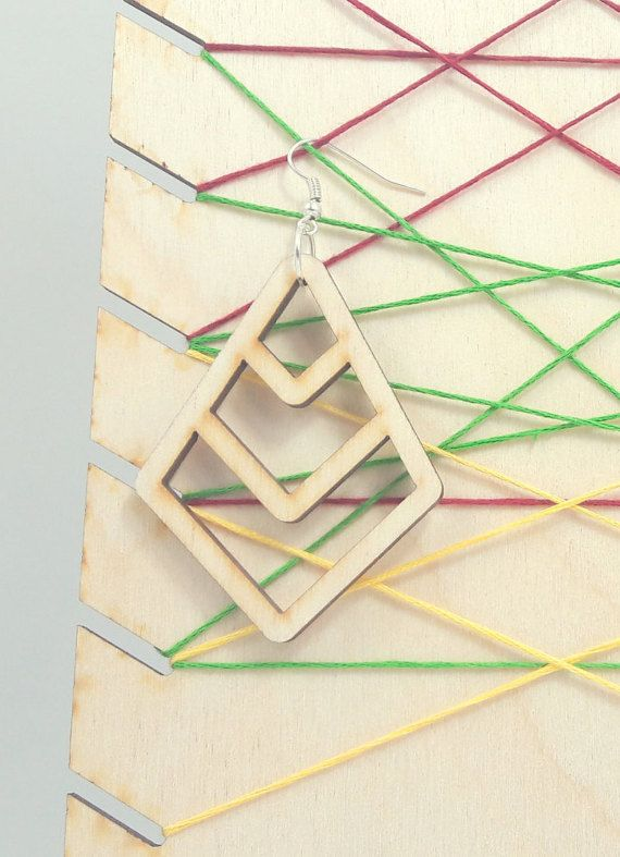 Diamond wooden earring - jewelry - laser cut - light weight - bridal earrings - for woman - fashion - rings - pairs - laser art - plywood