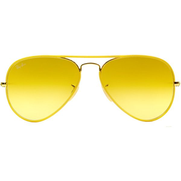 ray ban yellow aviator sunglasses  ray ban aviator metal sunglasses (389912601) ($144) ? liked on polyvore
