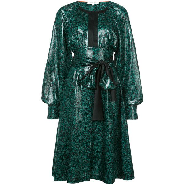 Dvf Diane Von Furstenberg belted patent dress (£690) ❤ liked on Polyvore featuring dresses, green, green skater skirt, green long sleeve dress, diane von furstenberg dress, metallic skater skirt and patent leather dress