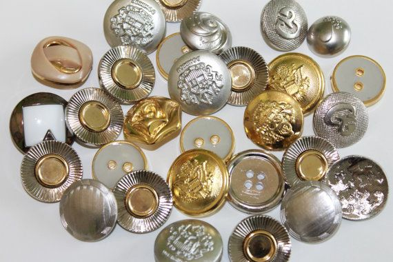 Metal and metal look acrylic buttons assorted vintage