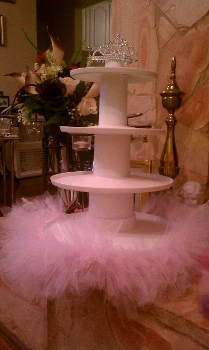 Tutu cupcake tiers for girls baby shower CUTE.. but with purple & butterflies for baby Lyra's baby shower :)