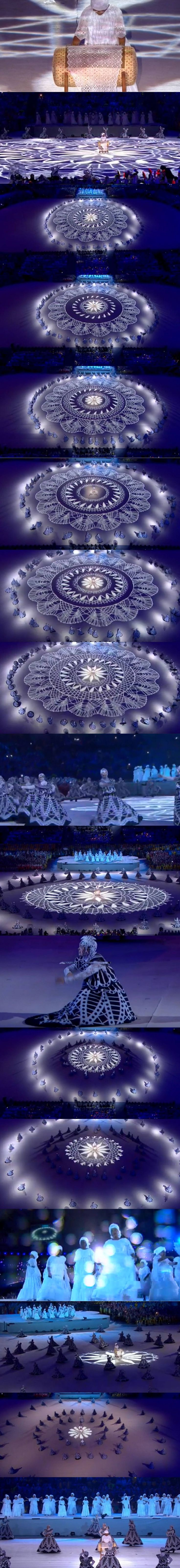 Graceful precision choreography honoring traditional Brazilian lacemakers plying their craft, knotting yarn into a mesmerizing concentrically-netted gauze veil of fabric that delicately radiates as if mysteriously illuminated from within (screen-capture strip of closing ceremonies at the 2016 Summer Olympics, Rio de Janiero)