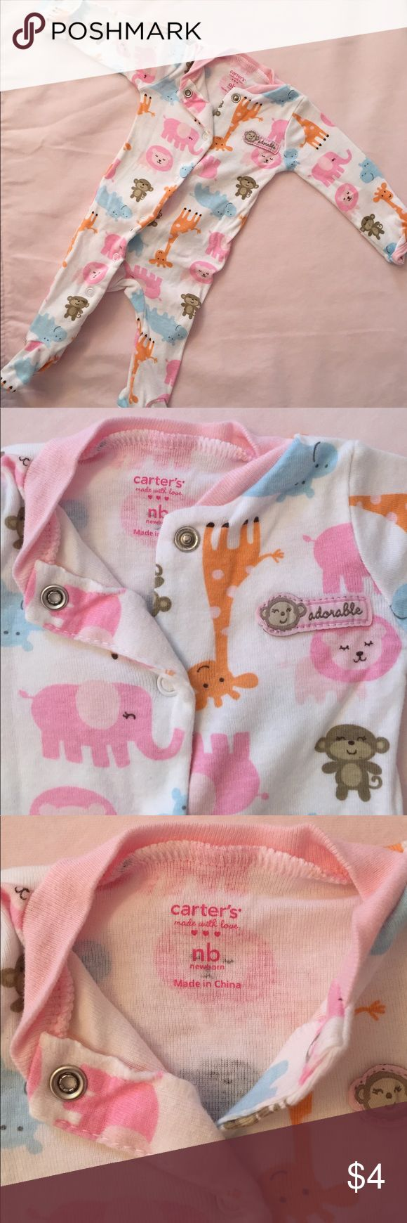 CARTER'S 🍼 Newborn Sleep 'N Play Carter's Animal Print Sleep 'N Play with built-in Mittens🍼SIZE NB🍼Barely worn, Like New. BUNDLE with other items and MAKE AN OFFER! Carter's One Pieces Footies