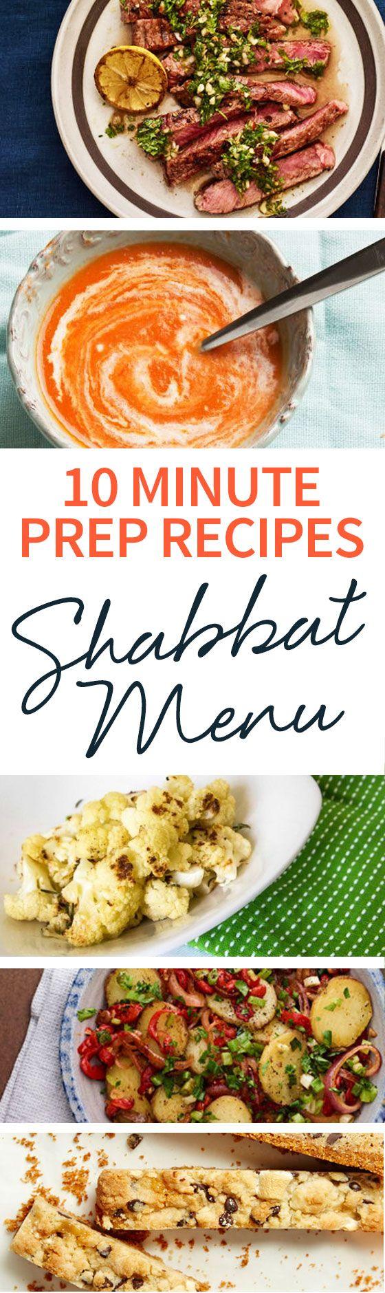 Find inspiration for your Shabbat meal when you follow our 10 Minute Prep Recipes Shabbat Menu guide! http://www.joyofkosher.com/2017/02/10-minute-prep-recipes-shabbat-menu/