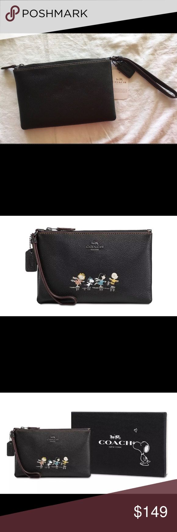 """Coach Boxed Sm. Snoopy Peanuts Wristlet Black NWT Coach Snoopy small black pebble leather wristlet can hold all your essentials- but especially, it will hold and capture your heart!! Snoopy, Charlie Brown, Lucy & Sally characters depicted on front. 7-1/2""""W x 4-3/4""""H 6""""L wristlet strap Top-zip closure Dark antique nickel-tone exterior hardware 2 credit card slots & fits an iPhone or Android Pebble leather, lining: fabric.       Imported Comes packaged in a COACH gift box Coach Bags Clutches…"""