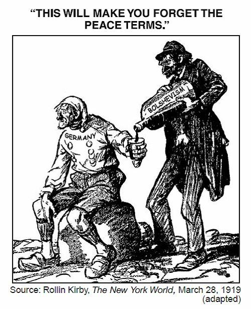 This political cartoon illustrates how the Treaty of Versailles was very harsh for Germany and quite unfair.