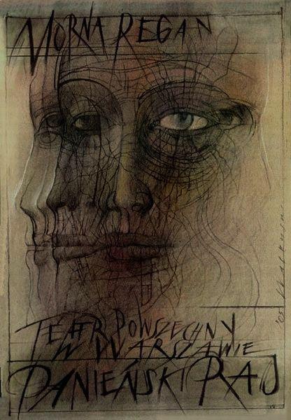 Midden  DesignerWalkuski Wieslaw theater poster AuthorRegan Morna TheathreEnglish PlaceWarszawa Year of Print2005
