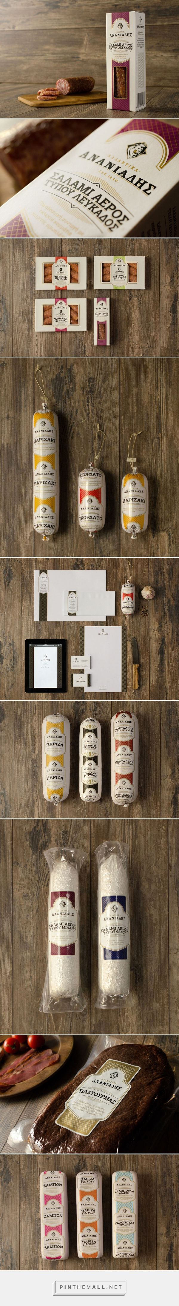 Ananiadis charcuterie package design on Behance by Artware Branding curated by Packaging Diva PD. Unique sausages and other tasty charcuterie offerings.
