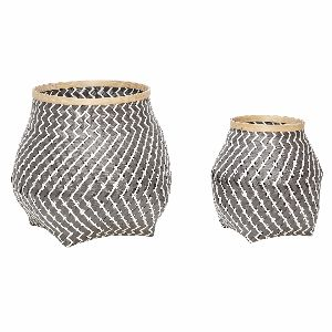 Black Bamboo Basket - Medium: These beautiful woven Bamboo Baskets in an eye catching Danish design are available in two generous sizes.  Perfect for a variety of storage in any room. The large size is perfect for laundry, throws etc and all three have plenty of room for toys, clothes, towels and products etc. Striking Scandinavian Design which is guaranteed to make a stylish impact in any setting.