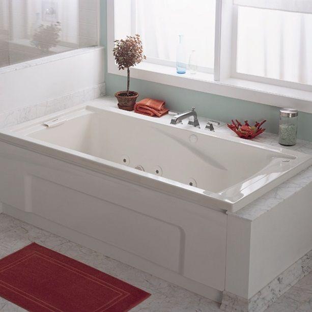 Massage Tubs - Evolution 60 Inch by 36 Inch Deep Soak EverClean Whirlpool - Linen