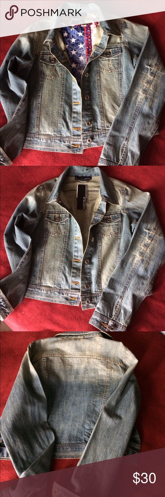 Ombre jean jacket from Chetta B brand new with tag size Small 100% cotton machine was and made in India great outfit for spring and fall season Chetta B Jackets & Coats Jean Jackets