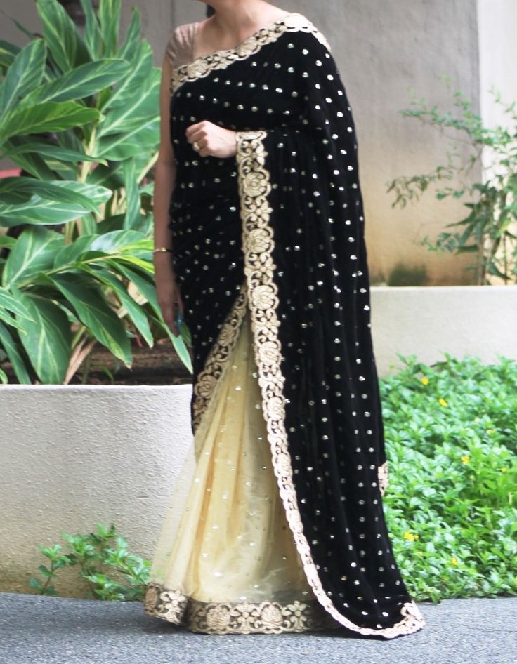 Black Velvet with Gold net half n half saree with zari cut-work border