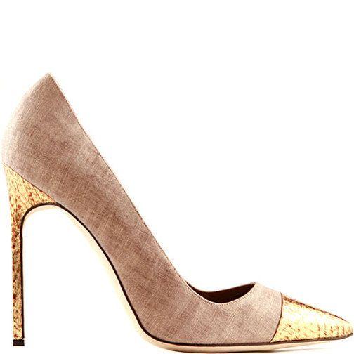 Manolo Blahnik Neutraland Gold Linen & Snakeskin Pumps #Manolos #Shoes…
