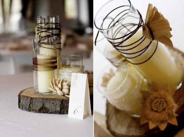 replace tall candle with message in a bottle and base with driftwood. can hang table number around bottle neck? and/or guests write on paper inside bottle