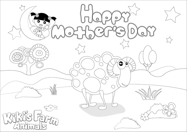 11 best Kikiu0027s Motheru0027s Day Coloring Book images on Pinterest - best of coloring pages for year of the sheep