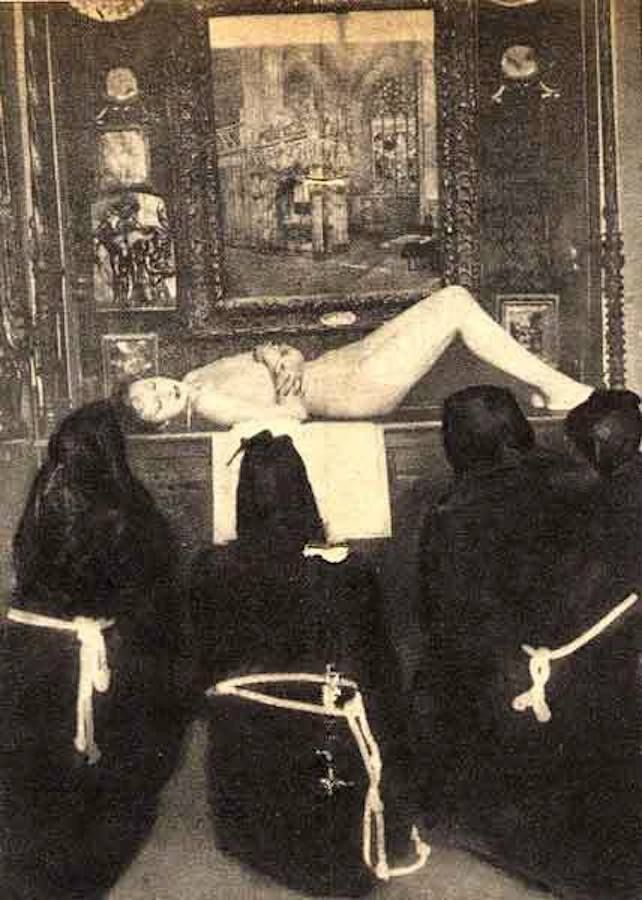 """Black mass held by Maria de Naglowska (she is in the middle), the Sophiale of Montparnasse, Russian mystic,self styled Satanic woman and translator of P.B. Randolph's (the man responsible for introducing sexual sorcery to the West) """"Sexual Magic"""""""