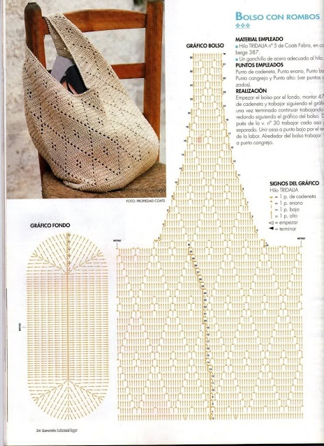 A beautiful crochet bag with instructions, not in English. Worthy of a pin.