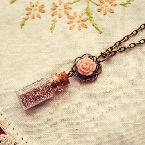Tiny Bottle Necklace with Pink German Glass Glitter and Rose