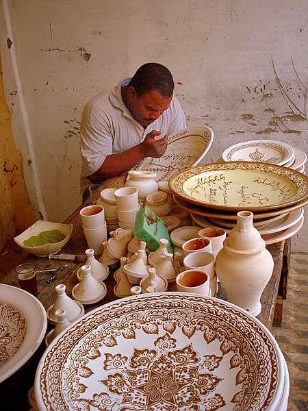 Moroccan Ceramic Artist, Tamegroute.