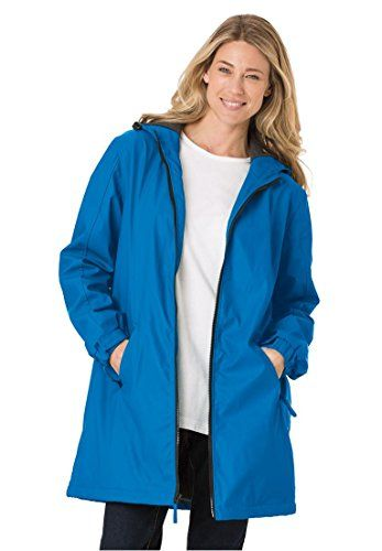 Women's Plus Size Raincoat Slicker Repels Water; Drawstring Hood, Fleece Lining