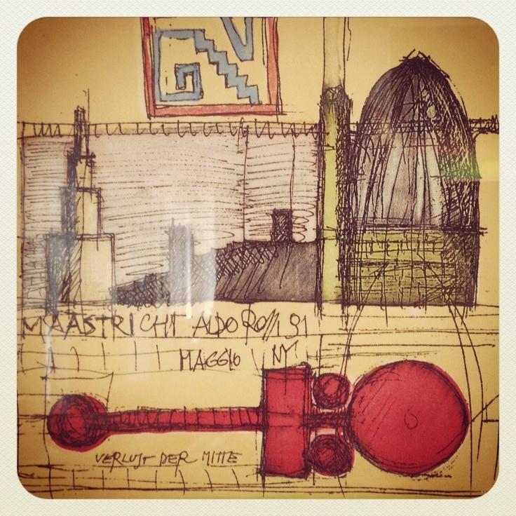 Schitterende tekening val Aldo Rossi van ontwerp Bonnefantenmuseum in Maastricht.