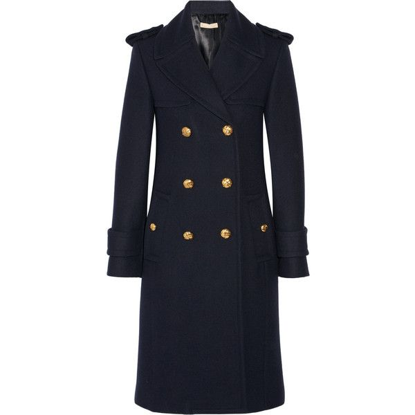 Michael Kors Collection Double-breasted melton wool coat (11,325 PEN) ❤ liked on Polyvore featuring outerwear, coats, michael kors, navy, navy blue military coat, water resistant coat, navy blue double breasted coat, military wool coat and military style wool coat