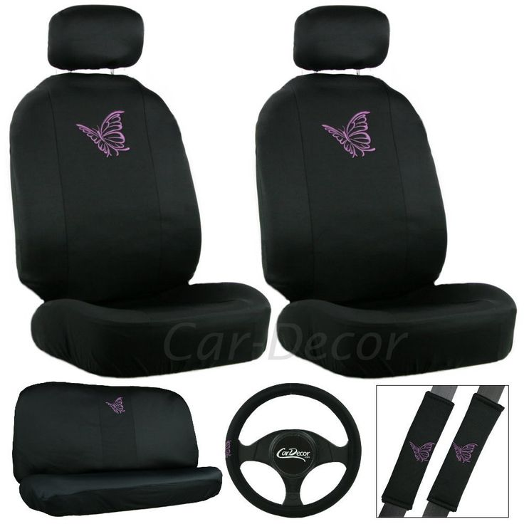 Girly Purple Butterfly Car Seat Cover Set
