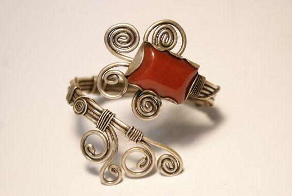 agate bracelet- brown agate cuff bracelet in handmade wire wrapped jewelry handmade-wire wrapped cuff bracelet