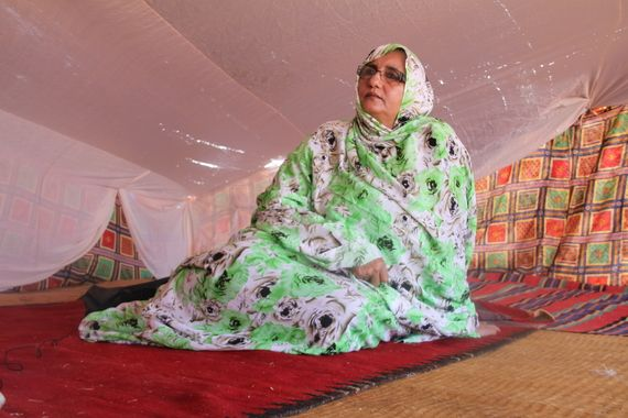 2014-06-03 Image of Khadija Hamdi, Minister of Culture in the Sahrawi Arab Democratic Republic (SADR) cabinet, wife of SADR President, Mohamed Abdelaziz. Image by author.