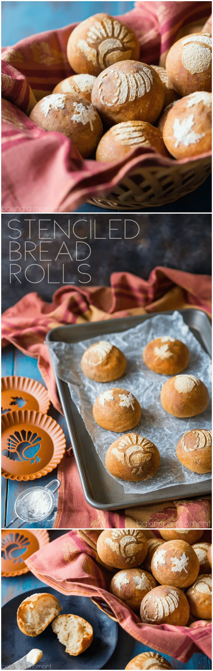 I made these stenciled bread rolls for Thanksgiving and my guests went crazy for them! It was surprisingly easy to do and it made our holiday table even more festive.  food bread crafts via @bakingamoment